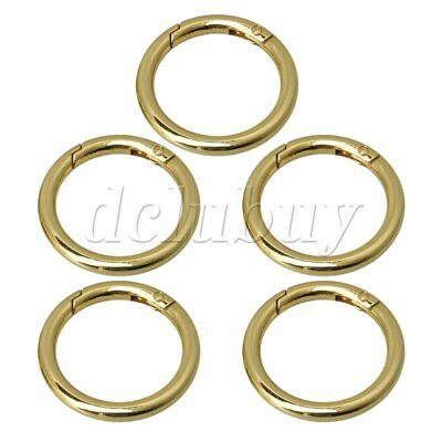 5Piece Round Carabiner Spring Snap Clips Hook Keychain 49x37mm Dia Gold