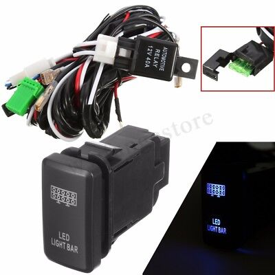 12V 40A LED Light Bar Wiring Loom Harness Kit Fuse Relay Push Switch For Toyota