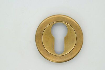 "Vtg. Ant Style Escutcheon Brass Key Hole Cover Furniture Drawer Hardware 2"" #E21"