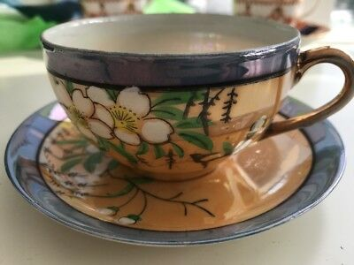 Antique / vintage Cup & Saucer - Hand Painted From Japan