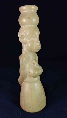 African Woman With Pot On Head & Baby Carved Stone Figurine