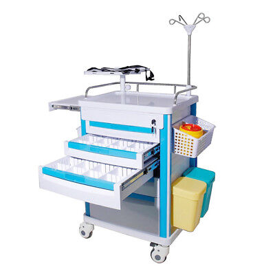 Medical Emergency Rolling Trolley Movable Operating Room Trolley Healthcare Tool