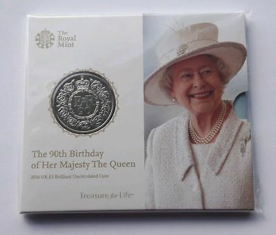 2016 Royal Mint Queen Elizabeth II 90th Birthday £5 Five Pound BUNC Coin Pack