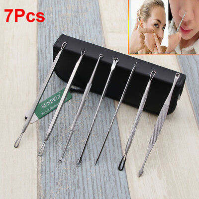 Pimple Remover Tool Kit Blackhead Extractor Comedone Acne Spot 7Pcs