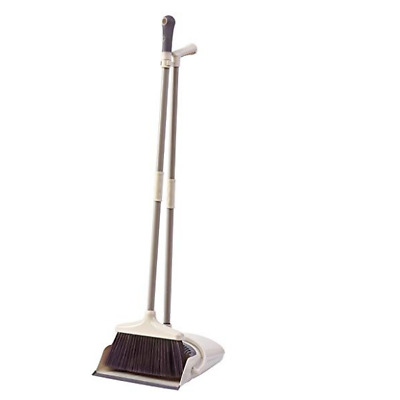 Broom Dustpan Set Cleaning Janitor Lobby Sweep Stand Brush Combo Long Bristle