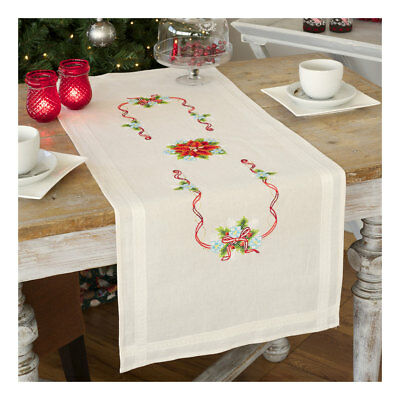 Embroidery Kit Runner Elegant Roses Design Stitched on Cotton Fabric |40 x 100cm