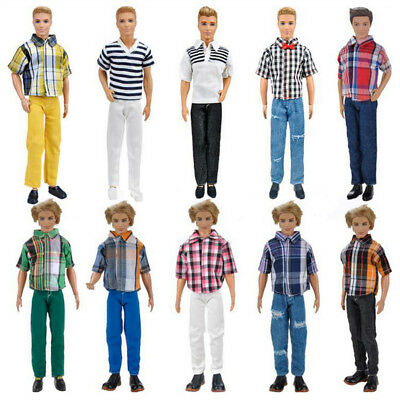 3 Sets Doll Clothes Casual Wear Suit Tops Pants Outfit for Barbie Ken Dolls Gift