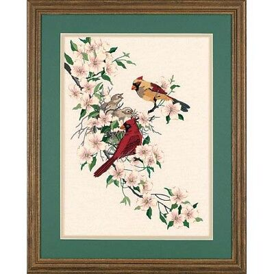 Dimensions D01516 | Cardinals In Dogwood Picture Crewel Embroidery Kit 28 x 38cm