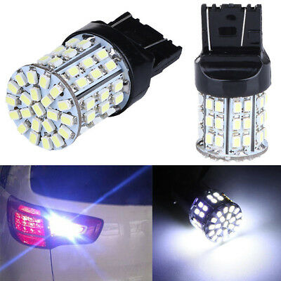 2x Car T20 W21W 7443 7440 64-SMD LED Tail Brake Backup Reverse Light Bulbs White