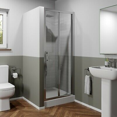 900mm Bathroom Bi Fold Shower Door Walk In Enclosure Framed 6mm Safety Glass