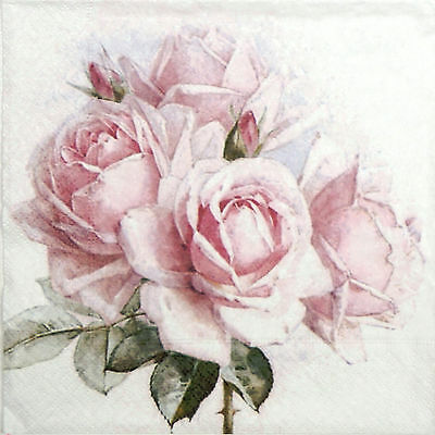 4x Paper Napkins -Sagen Vintage Pink Roses- for Party, Decoupage