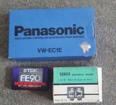 Ohnar Super 8 splicer, Panasonic Video editing controller and TDK audio tape