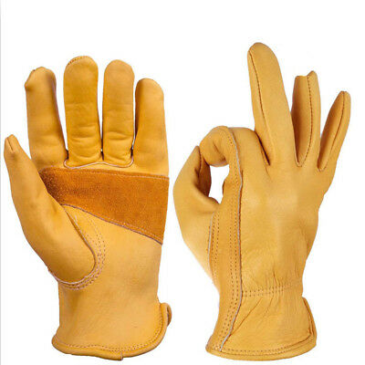 1 Pair Working Cowhide Leather Gloves Garden Labor Safety Security Protector