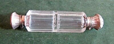Vintage double-ended silver capped scent bottle clear glass