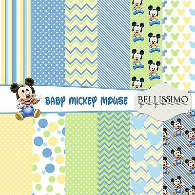 Baby mickey mouse inspired Scrapbook Papers, 12 Sheets, Custom Designs