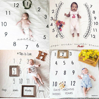 Newborn Baby Monthly Numbers Milestone Blanket Photography Props Backdrop Mat Xc