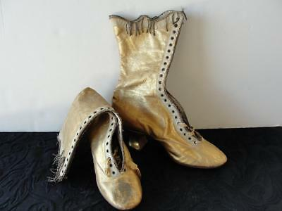 Antique Victorian Women's Gold Leather Lace Up Boots/Shoes