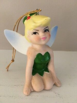 Vintage Disney Christmas Ornament Ceramic Japan Tinker Bell Peter Pan Tinkerbell