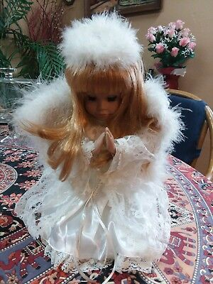 Vintage Musical, Praying Angel 13 inches high. Plays Silent Night