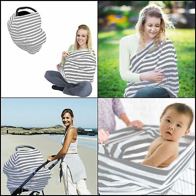 Stretchy Car Seat Canopy Cover Multi Use Baby Nursing Cover Breastfeeding 4 in 1