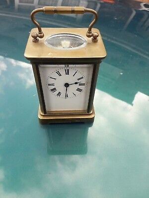 Vintage French Brass Carriage Clock  Face Enamel   With Key Working Condition