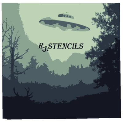 Multilayer STEP BY STEP airbrush stencil ufo