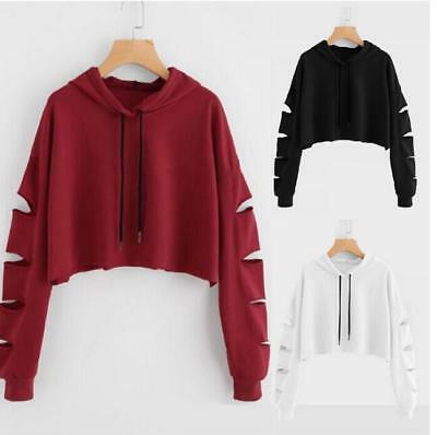 Fashion Womens Sexy Hooded Hoodie Plain Sweatshirt Girls Crop Tops Pullover Tops