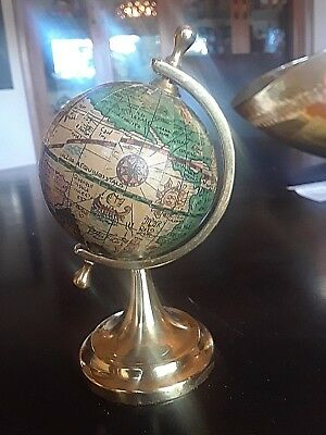 Vintage Mod. Dep Spinning Latin Globe With Brass Stand Paperweight Made in Italy