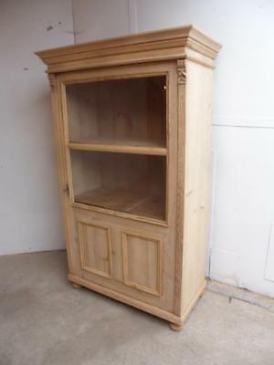 A Panelled Victorian Antique/Old Pine Display Cabinet/Dresser to Wax/Paint