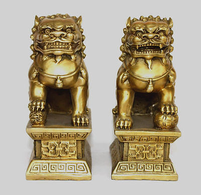 Chinese Copper bronze Guardian Foo Fu Dog Phylactery Door Lion Pair Statue