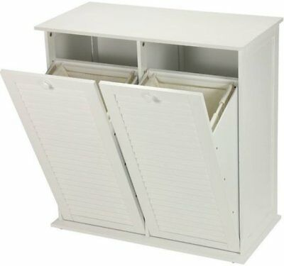 Tilt Out Laundry Hamper Cabinet White Wooden 2 Compartment Storage  Recycling Bin