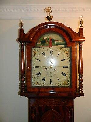 Georgian Longcase Clock by J Blagburn, Sunderland C.1830 in Flame Mahogany Case.
