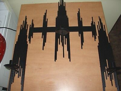 Vintage 3 Piece Set Mid-Century Modern Emaus Brutalist Wall Sculpture Sconces