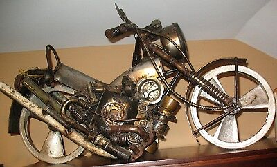 Large One of a Kind Recycled Auto Parts Sculpture of a Motorcycle