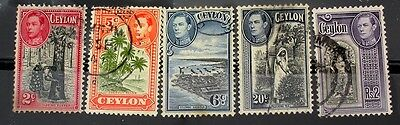Ceylon  1938 Stamps Used Scott #278,292,293,283,288   Assorted Natural Resouces