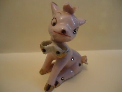 Vintage Ceramic  CHRISTMAS PINK DEER  DOE  w/ Rhinestones- Wales Japan SWEET