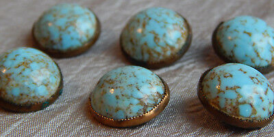 Lot of Antique Vintage Buttons Turquoise & Brass #100-A