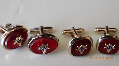 2 Vintage PAIR OF RED Masonic Cufflinks SQUARE ONES ANSON OVAL ARE FOSTER