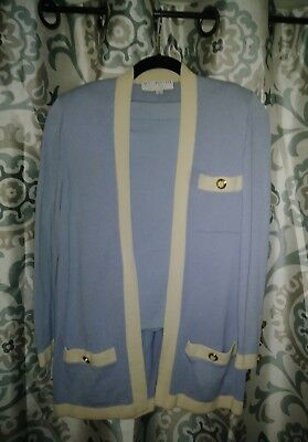 St John Collection By Marie Gray Knit Light Blue Cardigan & Skirt Suit SZ 4/S