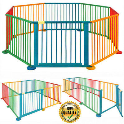 Baby Children Kid Wooden Bars Playpen Play Pen Room Divider 8 Panels Sided