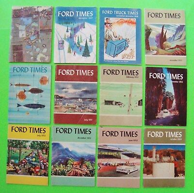 12 Diff FORD TIMES BOOKLETS 1947 - 1953 Stories NEW CARS Travel ARTWORK 780-pgs