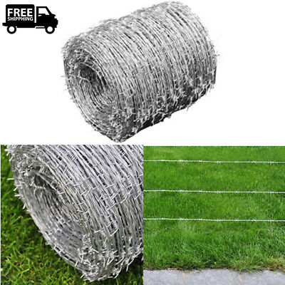 Barbed Wire Roll 1640' Security Sturdy Barb Fence Galvanized Steel Protect Plant
