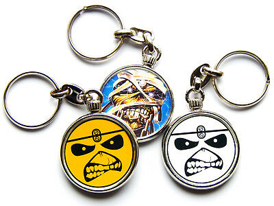 IRON MAIDEN Heavy Metal Band Large Chrome Keyring Picture Both Sides