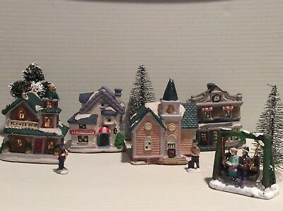 cobblestone corners christmas village set 10 pieces