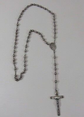 Vintage Sterling Silver Religious Rosary Crucifix Cross Necklace with 58 Beads!