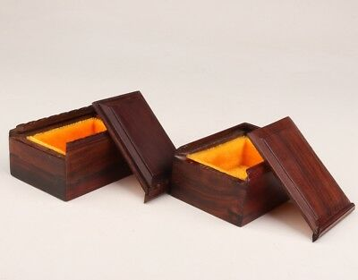 2 Vintage Chinese Wood Box Mini Decorative Ring Collection