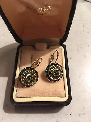 Gorgeous Art Deco Style Green And Gold Vintage Costume Drop Earrings
