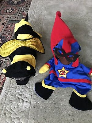 2 x Dog dress up costume Super Hero & Bee - Halloween / Christmas / NEW