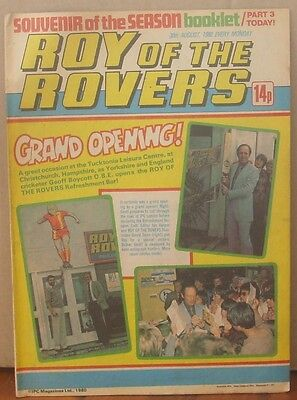 ROY OF THE ROVERS  30th August 1980 The Hard Man MIghty Mouse Tommy's Troubles
