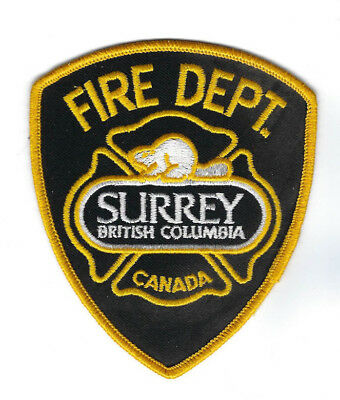 Surrey BC British Columbia CANADA Fire Dept. gold Officer's patch - NEW!